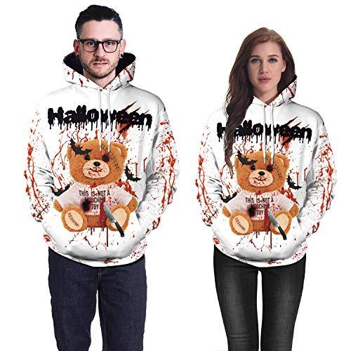 Story of life Druck Paar Sweatshirt Horror 3D Blood Splash Bär Kapuzenpullover Europäische Und Amerikanische Halloween Party Performance Kostüme Unisex - Bruder Und Schwester Bär Kostüm