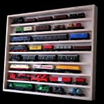 V01 Wall Showcase Display Cabinet   27.6 x 22.8 x 2.4   70 x 58 x 6 cm   Untreated Birch Wood   2 clear sliding Plexiglas doors   8 Shelves   Perfect for collection of Model Cars   Miniatures   Model Railway   N and Z scale