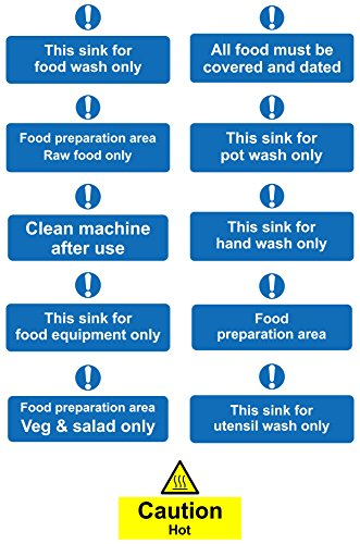 Kitchen safety signs full pack - 45 Qty Various self adhesive labels ...