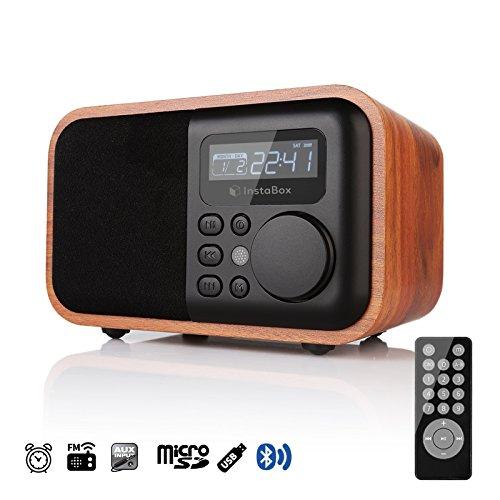 InstaBox i90 Holz Digital Multi-Funktion Tischradio Lautprecher mit Bluetooth FM Radio Alarm Tischuhr, Mp3 Player unterstützt Mikro SD/TF Karte und USB AUX, mit Fernbedienung, Braune Holzmaserung