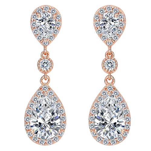 Clearine Damen 925 Sterling Silber Elegant Hochzeit Braut Cubic Zirconia Unendlichkeit Tropfen Pierced Dangle Ohrringe Klar Rose-Gold-Ton