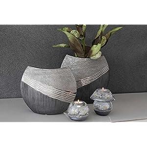 GILDE Keramik Ovale Vase Bridgetown 2 Stück grau Silber L = 7 x B = 27 x H = 21 cm
