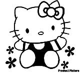 Hello Kitty 20 cm x 20 cm, Farbe: schwarz, Kinderzimmer, Kind-Raum-Aufkleber Auto Vinyl, Fenster und Wand Aufkleber, Wand Windows-Art ThatVinylPlace Wandtattoo,