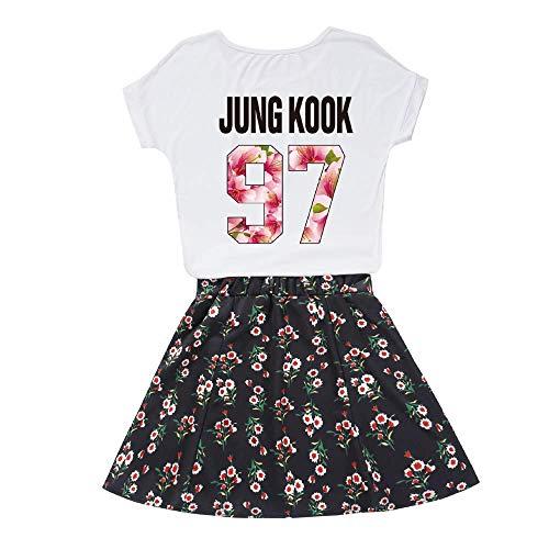 [Verpackung EINWEG] Sommer Sportswear-Sets für Damen BTS Jin Jimin Suga V RM J-Hope Jungkook Kurze Ärmel T-Shirts und Casual Kurzer Rock 25-teiliges Set Lose Bekleidungssets für Mädchen