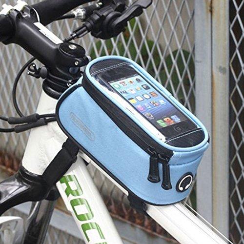 NoyoKere Tasche für Superior-Mobile-Rohr Fahrradrahmen - wasserdicht . PVC-Schlauch mit vorderer transparenter Schutzabdeckung und gepolsterter Stütze für integriertes Telefon. blau Tag