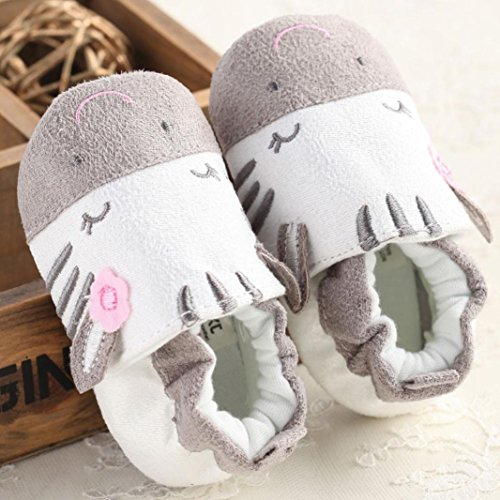 BZLine® LITTLE ORIBBLER Coton Chaussures de premier pas à Semelle souple pour Bébé Fille 0-18Mois (12~18 Mois, Gris) Gris