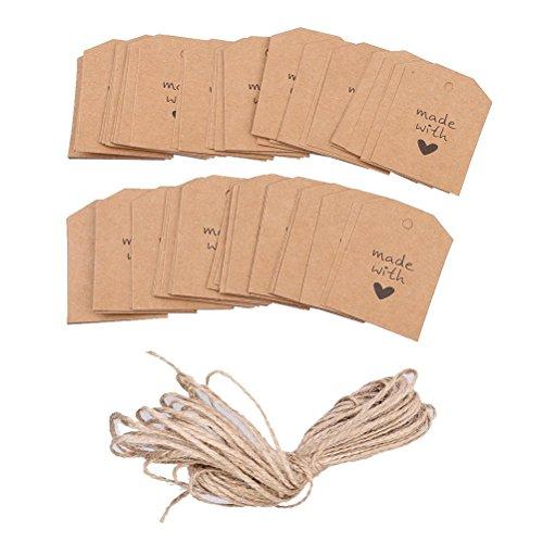 ULTNICE 100 piezas hechas con amor muestra papel de etiqueta de la etiqueta del regalo con guita para