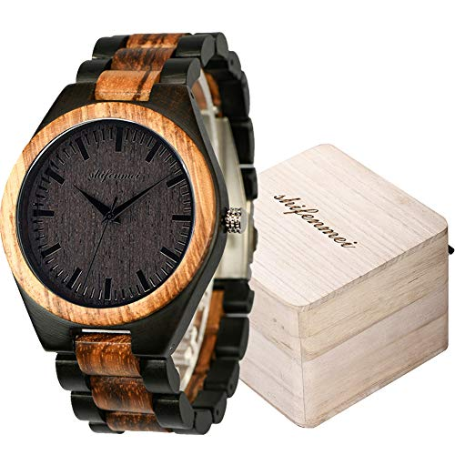 Shifenmei Herren Holzuhr Japanisches Quarzwerk Minimalistisches Design Handgefertigte Uhr mit Holz Armband inkl. Geschenkbox