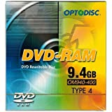 5-Pak 9.4GB Optodisc 2X DVD-RAM in Type-4 Cartridge with Hard Coat Surface!