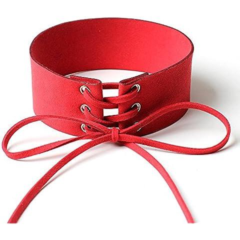 XJoel Lace up gotico collana Punkchoker rossi e rosa 2 pezzi interessanti gioielli donne nere