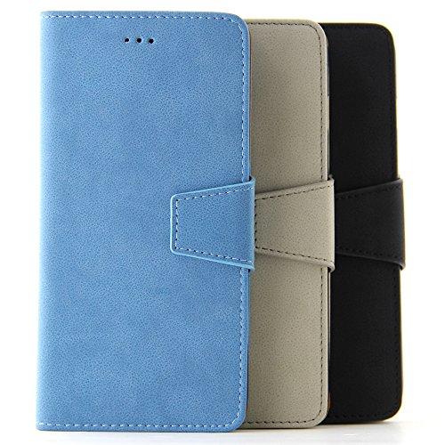 BELK iPhone 6/6S, (11.94 cm), 2-in - 1 Flip Wallet Case aus Wildleder, Retro Schutzhülle mit Magnetverschluss, herausnehmbare Hartschale, inkl. Displayschutzfolie 6S Red - blau