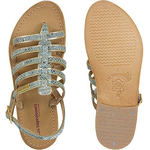 Les Tropez Valenciennes Sandals Femme par M Belarbi Herbier Beige - Turquoise