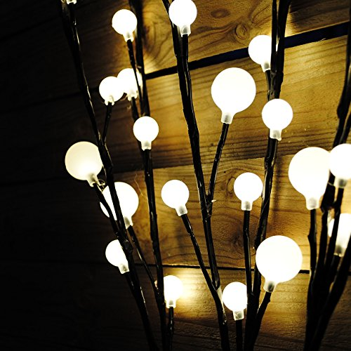 48 LED Lichterzweige Lichtfarbe warm weiß 3 Leuchtzweige mit je 90 cm Länge für Innen und Außen Weihnachtsbeleuchtung Weihnachtsdeko Lichterkette mit Dekokugeln - 4