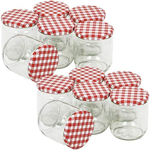 COM-FOUR® 12x pots à conserves à capuchon à vis en damier rouge/blanc, Ø 82 mm, 425 ml (12 pièces - 425 ml)