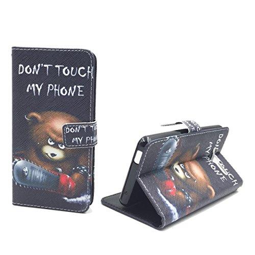 König-Shop Handy-Hülle Schutz-Tasche ZTE Blade L3 Smartphone Klapphülle Don't touch my Phone Design Bär mit Kettensäge