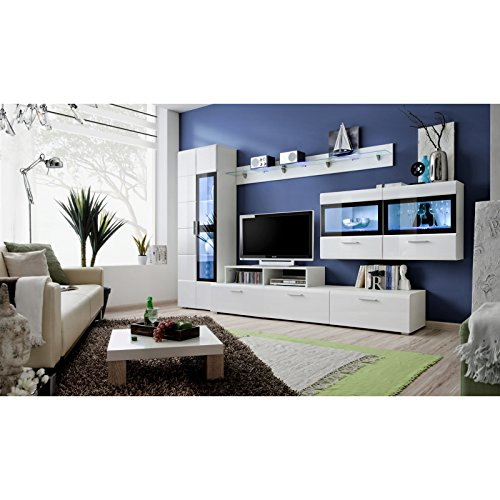 ASM Gros mobilier Ensemble Meuble TV Mural - Krone IV - 270-300 cm x 182 cm x 45 cm - Blanc