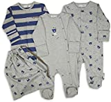The Essential One - 3 Pack Baby Boy Bear Sleepsuits Babygrows- Blue Grey - ESS137
