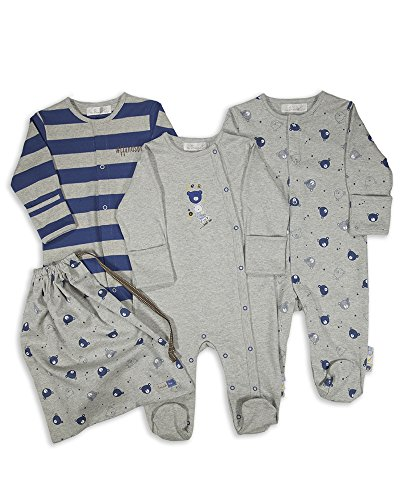 The Essential One - Baby Jungen Schlafanzuge/Schlafanzug/Einteiler/langarmeliger Body/Strampler (3-er Pack mit Beutel) - 74/80cm - ESS137