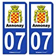 2 Autocollants de plaque d'immatriculation auto 07000 Annonay - Ville