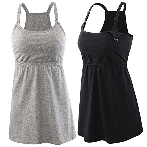 Topwhere 2PACK Maternity Nursing Top Tank Cami Sleep Bra For Breastfeeding and Pregnancy (S, Schwarz + Grau) (Nursing Bra Cami)