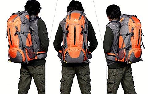 YAAGLE unisex 50L Outdoor wasserdichter Rücksack große Kapazität Reisetasche multifunctional Bergsteigen Tasche bequemliches Camping-Paket orange
