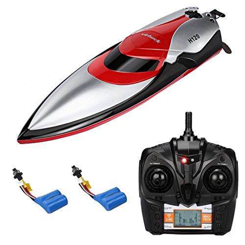 Virhuck Rc Boot, Electric Racing Boot, Fernbedienung Boot mit 2 x Batterien und Hoher Geschwindigkeit Wasserdicht für Beginners Pools und Seen und Outdoor Adventure (H120)