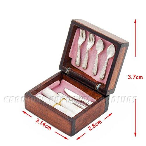 Odoria 1/12 Miniatur Geschirr Vintage Besteck Brust Holz Für Puppenhaus Küchen