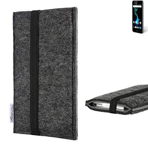 flat.design Handyhülle Lagoa für Allview P6 Pro | Farbe: anthrazit/grau | Smartphone-Tasche aus Filz | Handy Schutzhülle| Handytasche Made in Germany