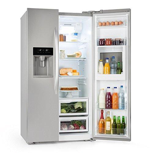 Klarstein Grand Host XXL • Nevera americana con congelador • LED de bajo consumo • Dispensador de agua y hielo de 550 litros • Silencioso con 45 dB • Tecnología Total NoFrost • Plateado