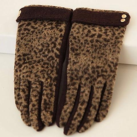 KHSKX Cashmere e guanti di lana inverno caldo filo di bordatura guanti a maglia per touch screen guanti ladies,Leopard Brown