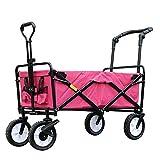 Faltbarer Bollerwagen Handwagen mit Doppelbremse Schwerlast Stahlrahmen Waschbar Oxford-Tuch Hohe Kapazität Draussen, 85 X 50 X 28cm, Mehrfarbig (Farbe : Rose Rot)