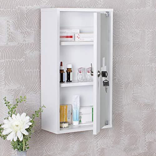 KS Furniture Ella Armadietto per medicinali Legno 26 x 48 x 12 richiudibile con 3 Scomparti Porta Vetro Colore Bianco