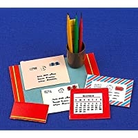 12th Scale Dolls House Library/Study Accessory - Desk Set - blue