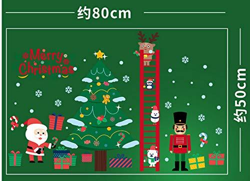 Weihnachten Ornament Glas Tür Aufkleber Fenster Szene Layout Wand Aufkleber Santa Baum Schneeflocke Aufkleber -