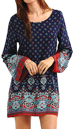 Summer Mae Damen Langarmshirt Blusenkleid Bohemien Vintage Tunika Minikleid Rundhals Marineblau