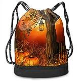 PmseK Turnbeutel Sportbeutel Kordelzug Rucksack, Autumn Pumpkin and Leaf Draw String Bags Gym Cinch Storage Bag for Traveling Hiking