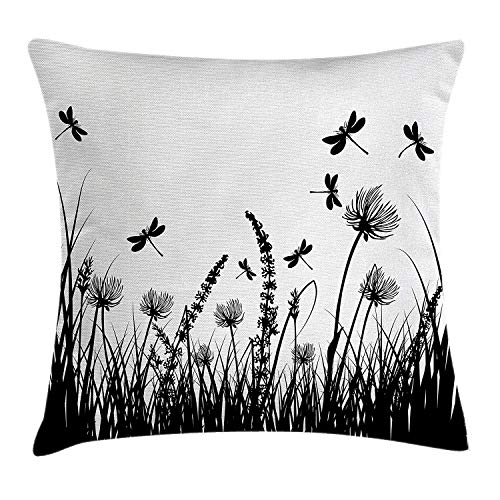 Kissenbezüge Nature Throw Pillow Cushion Cover, Grass Bush Meadow Silhouette with Dragonflies Flying Spring Garden Plants Display, Decorative Square Accent Pillow Case, 18 X 18 Inches, Black White