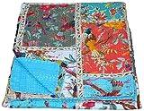 Indische handgefertigte Ethno-Bettwäsche, Zwillingsgröße, Heimdekoration, Vintage-Stil, Baumwolle, Kantha decke für Sofa und Bett