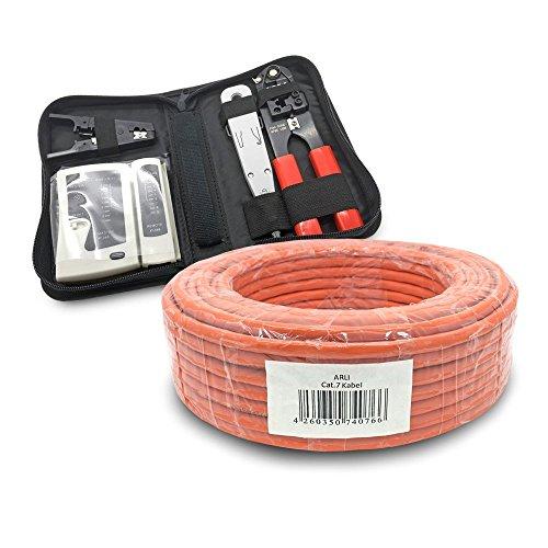 ARLI CAT 7 Verlegekabel 25m Netzwerkkabel + Werkzeug Set Crimpzange + LSA Anlegewerkzeug + Tester + Messer Halogenfrei Installationskabel Kabel Netzwerk Verkabelung Datenkabel CAT7 AWG23/1 Werkzeug -