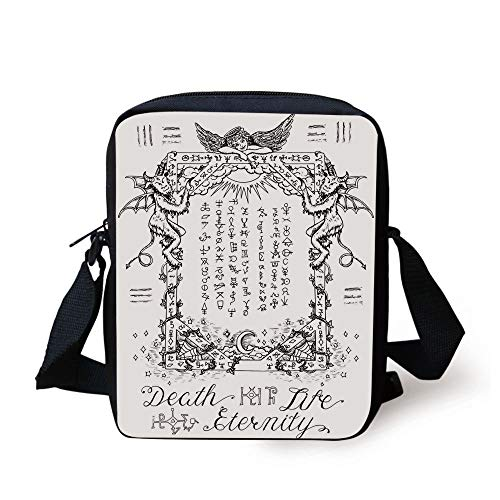 WITHY Occult Decor,Gothic Medieval Magic and Spell Symbols Eternal Life  Ritual Chart Art Theme,White Black Print Kids Crossbody Messenger Bag Purse