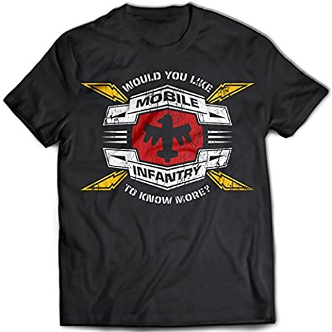 9330 Mobile Infantry Homme T-Shirt Starship Troopers Invasion Airforce Vintage Army Retro(XX-Large,Black)