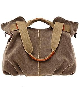 PB-SOAR Damen Vintage Canvas Handtasche Schultertasche Umhängetasche Henkeltasche 30 x 25 x 14cm(B x H x T)