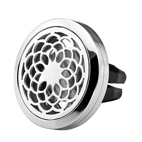 Zysta Diffuseur Voiture Odeur Parfum Huile Essentielle Désodorisant Dessin Chakra Sahasrara + 12pcs Coton pour Décor Conditionneur d'Air Grille d'Aération(Argent)