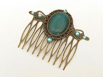 Peigne avec cabochon oeil de chat en bronze turquoise