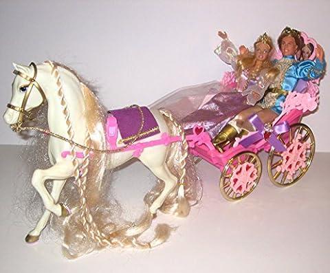 Rapunzel Barbie & Ken: Botticelli Horse & Wedding Carriage + Princess + Prince Stefan (Bundle of B00005Y1CC + Dolls B00005Y1C1 + B00005Y1BX