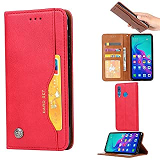 Forhouse Huawei Nova 4 Hülle,Ledertasche Hülle, Premium PU Leder Schutzhülle Flip Magnet Brieftasche Kartenfach Schlanke stoßfest Schutzhülle für Huawei Nova 4 (Red)