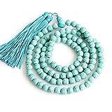WANZIJING 108 Mala Perlen, Edelstein Halskette, Mala Armband, Amazonit Edelstein Perlen Armband, Yoga...