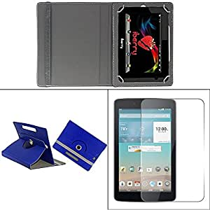 Gadget Decor (TM) PU LEATHER Rotating 360° Flip Case Cover With Stand For Wespro MC715 - Dark Blue + Free Tempered Glass Toughened Glass Screen Protector
