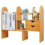 Hossejoy - Libreria da scrivania Regolabile in bambù, Organizer da scrivania con cassetti, scaffale Multiuso per Accessori da Ufficio, Cucina e Bagno