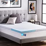 """FitMat Relieve Aches And Pains, Disperse Heat, Helps Maintain A Comfortable Temperature Gel Memory Foam Mattress Topper With Washable Removable Soft Cover Queen Large: 60"""" X 78"""" X 2"""""""